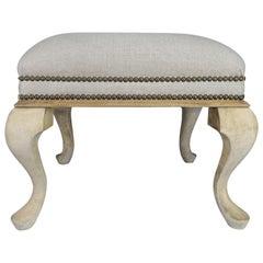 Swedish Natural Wood Linen Upholstered Bench