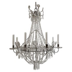 Swedish Neoclassical Style Six Arm Crystal Chandelier