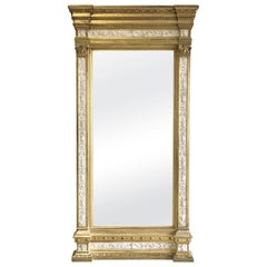 Swedish Neoclassic Monumental Cream Painted and Parcel-Gilt Pier Mirror