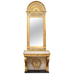 Swedish Neoclassical Carved & Giltwood Console with Mirror by Johan Martin Berg