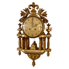 Swedish Neoclassical Giltwood Wall Clock, circa 1858