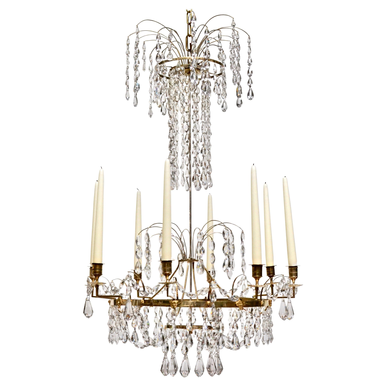 Swedish Neoclassical Ormolu and Cut-Glass Six-Light Chandelier