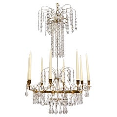 Swedish Neoclassical Ormolu and Cut-Glass Six-Light Chandelier