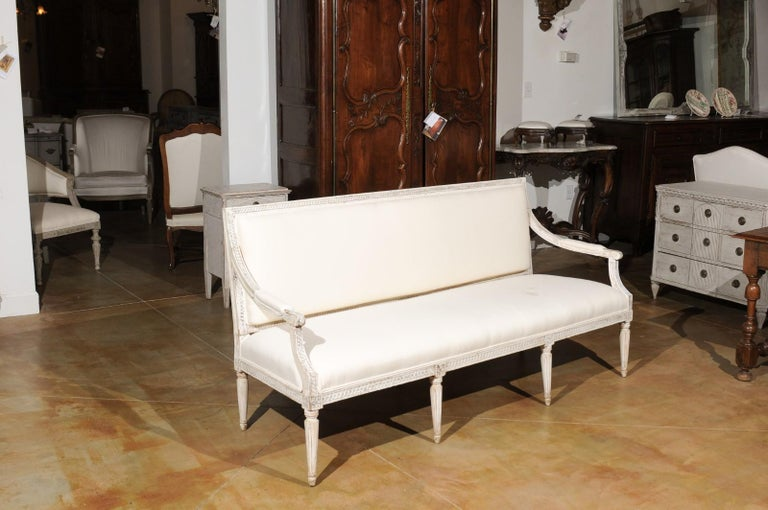 Carved Swedish Neoclassical Style 19th Century Painted Sofa with Guilloche Motifs For Sale