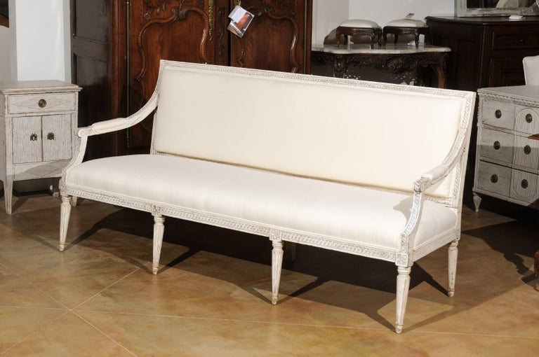 Swedish Neoclassical Style 19th Century Painted Sofa with Guilloche Motifs For Sale 3