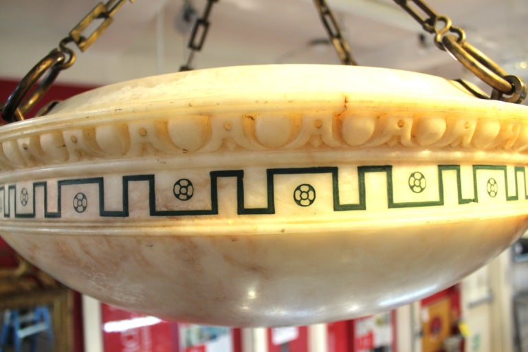 Swedish Neoclassical Style Alabaster Dome Shaped Pendant Light For Sale 4