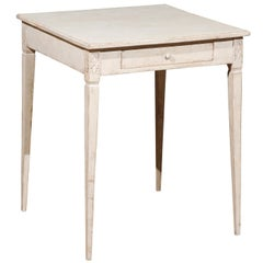 Swedish Neoclassical Style Painted Side Table with Drawer from Småland, 1880s