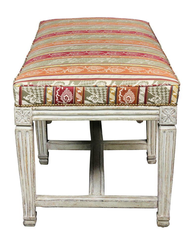 Wood Swedish Neoclassical White Painted Bench For Sale