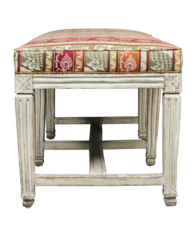 Swedish Neoclassical White Painted Bench For Sale 1