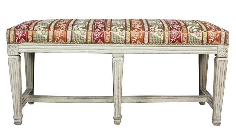 Swedish Neoclassical White Painted Bench For Sale 2