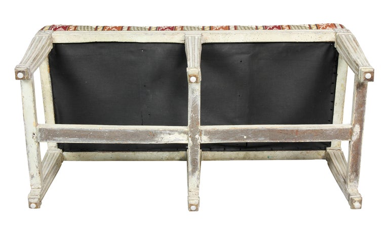 Swedish Neoclassical White Painted Bench For Sale 3