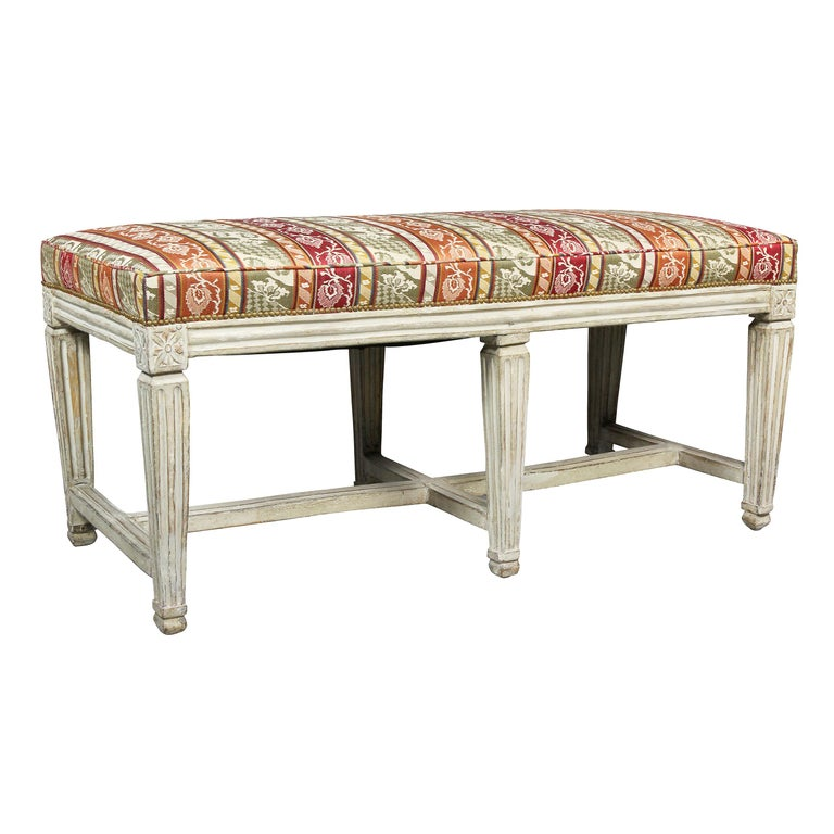 Swedish Neoclassical White Painted Bench For Sale