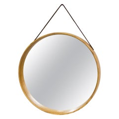 Swedish Oak and Leather Round Wall Mirror, 1950s