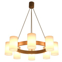 Swedish Oak and Opaline Chandelier