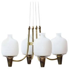 Swedish Opaline Glass and Brass Ceiling Lamp, 1950s