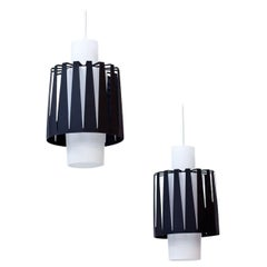Swedish Opaline Glass and Metal Pendant Lamps by ASEA, 1950s