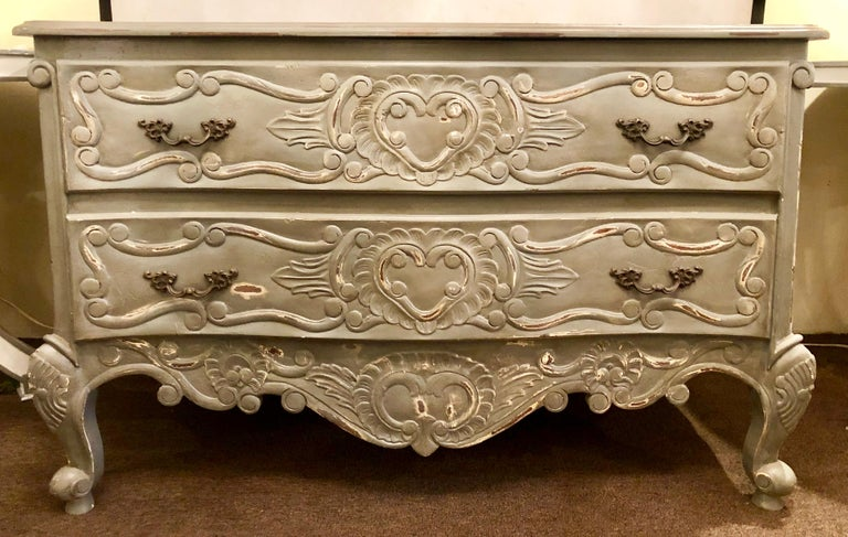 20th Century Swedish or Provincial Louis XV Style Two-Drawer Commode, Chest or Nightstand For Sale