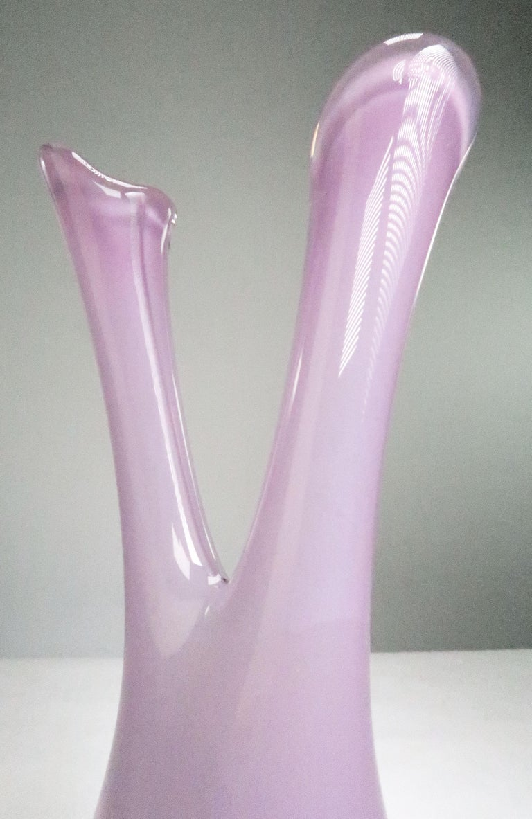 Mid-20th Century Rare Orchid Pink Art Glass Swedish Midcentury Double Vase by Sea Glasbruk, 1950s For Sale