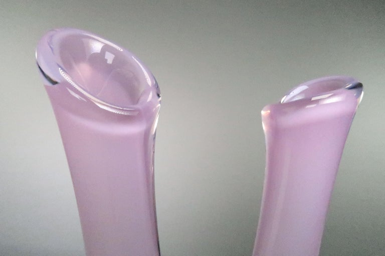 Blown Glass Rare Orchid Pink Art Glass Swedish Midcentury Double Vase by Sea Glasbruk, 1950s For Sale
