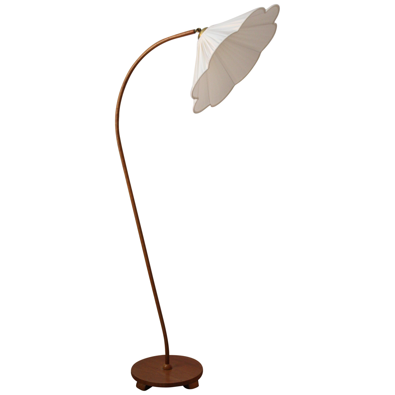 Swedish, Organic Floor Lamp, Brass, Wood, fabric, 1930s