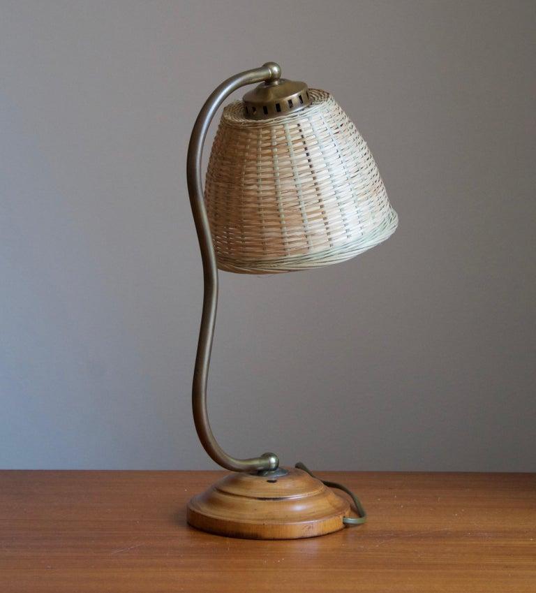 Scandinavian Modern Swedish, Organic Table Lamp, Brass, Wood, Rattan, Sweden, 1930s For Sale