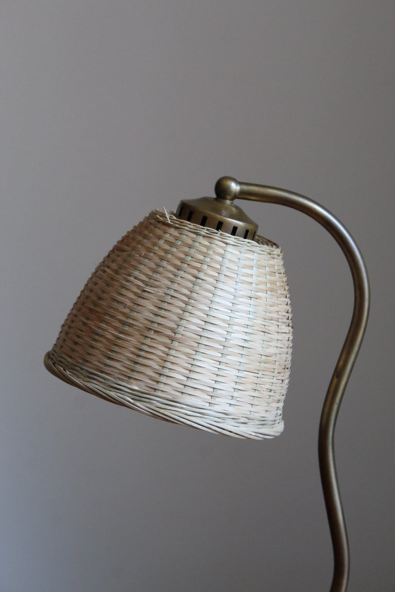 Swedish, Organic Table Lamp, Brass, Wood, Rattan, Sweden, 1930s In Good Condition For Sale In West Palm Beach, FL