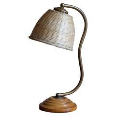 Swedish, Organic Table Lamp, Brass, Wood, Rattan, Sweden, 1930s