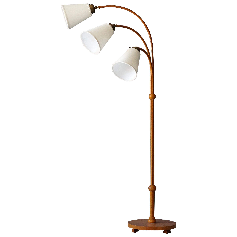 Swedish, Organic Three-Armed Floor Lamp, Brass, Wood, Rattan, Linen, 1930s