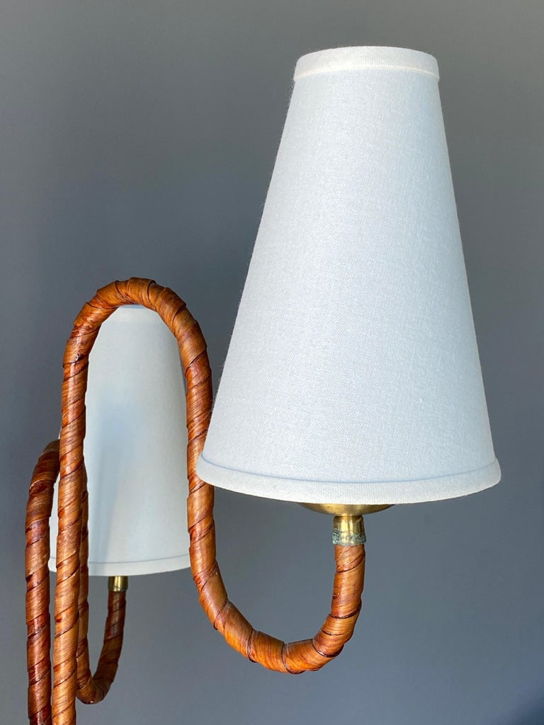 Swedish, Organic Three-Armed Floor Lamp, Rattan, Brass, Wood, Linen, 1930s In Good Condition For Sale In West Palm Beach, FL
