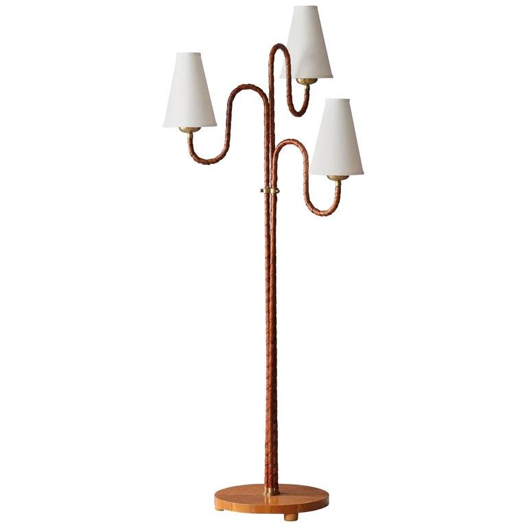 Swedish, Organic Three-Armed Floor Lamp, Rattan, Brass, Wood, Linen, 1930s For Sale