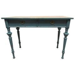 Swedish Original Painted 2-Drawer Blue Desk