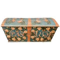 Swedish Original Painted Dome-Top Wedding Trunk, Dated 1834