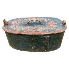 Swedish Original Painted Folk Art Box Dated 1820