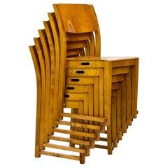 Swedish Orkesterstolen Birch Chairs by Sven Markelius, 1940s, Set of 6