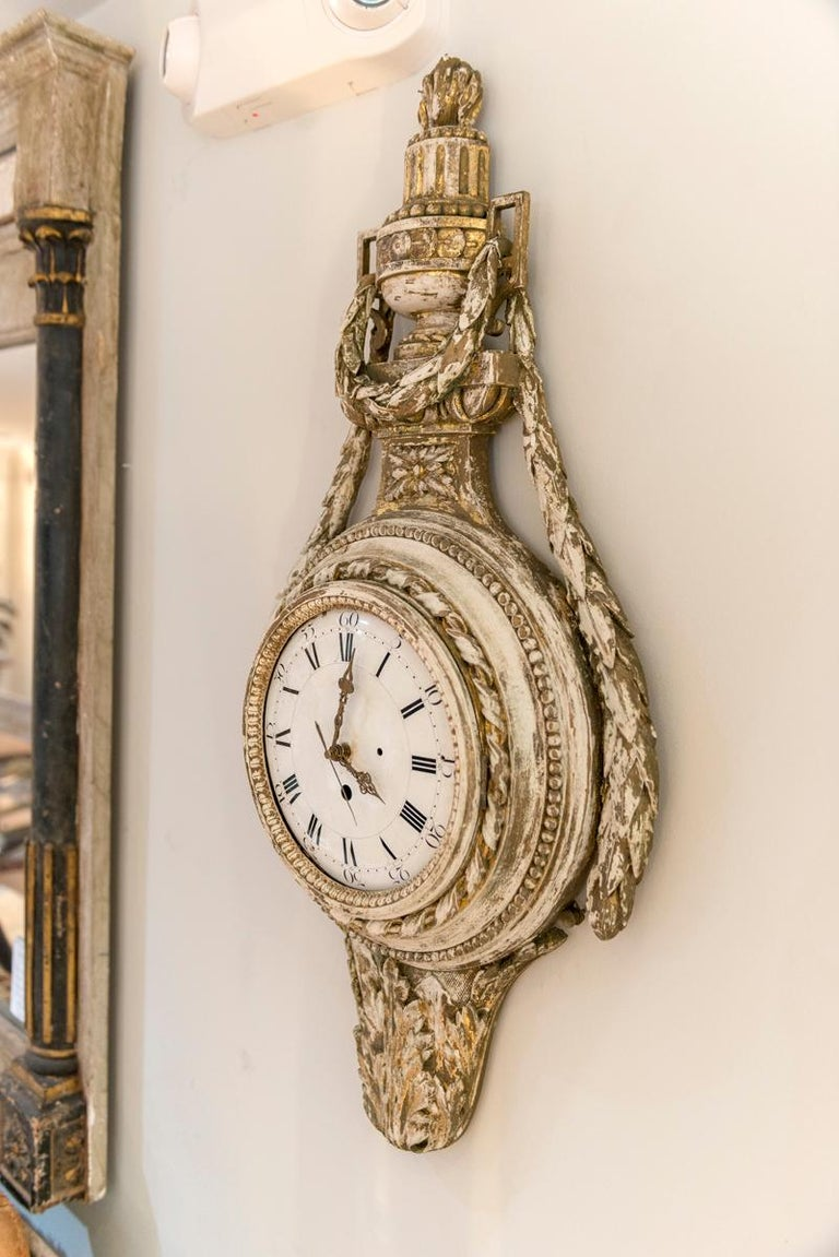 Swedish Painted and Gilded Wood Cartel Clock 4