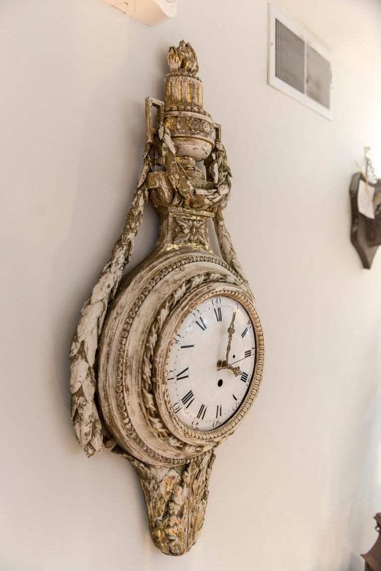 Swedish Painted and Gilded Wood Cartel Clock 3