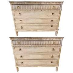 Swedish Painted Commodes Nightstands Four Drawers Distressed White Finish a Pair