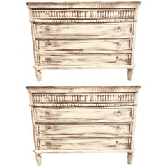Swedish Painted Commodes Nightstands Four Drawers Distressed White Finish