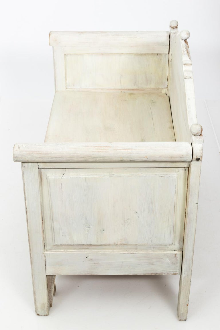 Gustavian Swedish Painted Storage Bench, circa 1900 For Sale