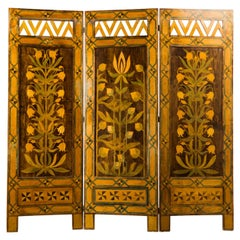 Swedish Painted Wood Screen