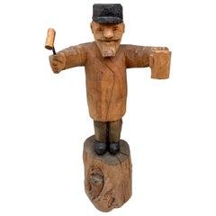 Swedish Painted Wooden Carved Figure of an Auctioneer with Hammer