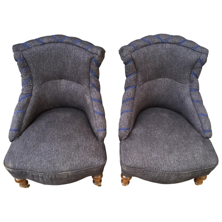 A nice pair of 19th century Oskarian armchairs from the Swedish Victorian time (King Oskar the II) newly upholstered.  Complimentary delivery to most areas of London UK.