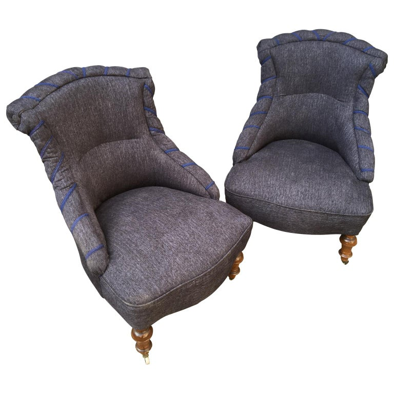 Upholstery Swedish Pair of 19th Century Lounge Armchairs For Sale