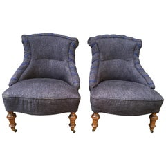Swedish Pair of 19th Century Lounge Armchairs