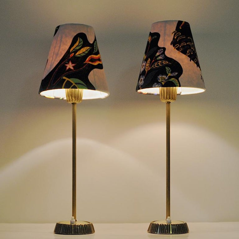 Swedish Pair of Brass Table Lamps by Sonja Katzin for ASEA, 1950s For Sale 3