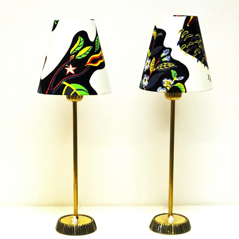 Scandinavian Modern Swedish Pair of Brass Table Lamps by Sonja Katzin for ASEA, 1950s For Sale