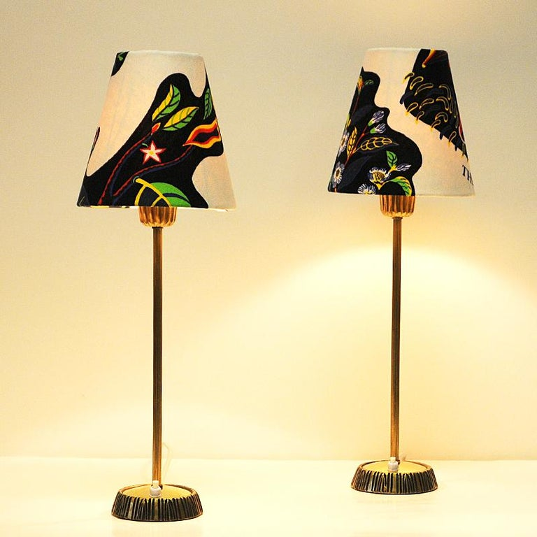 Swedish Pair of Brass Table Lamps by Sonja Katzin for ASEA, 1950s In Good Condition For Sale In Stockholm, SE