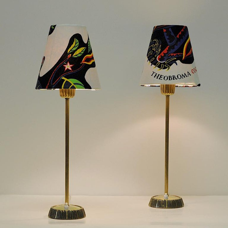 Mid-20th Century Swedish Pair of Brass Table Lamps by Sonja Katzin for ASEA, 1950s For Sale