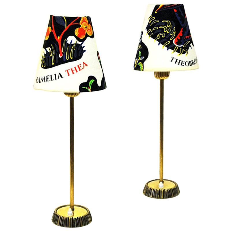 Swedish Pair of Brass Table Lamps by Sonja Katzin for ASEA, 1950s
