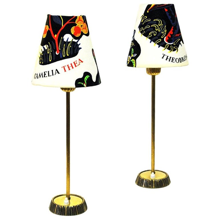 Swedish Pair of Brass Table Lamps by Sonja Katzin for ASEA, 1950s For Sale
